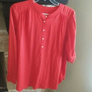 LOFT Sz Lg Pop Over Rayon Tunic Blouse Orange